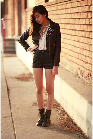 black H&amp;M jacket - black H&amp;M shorts - white Sway top