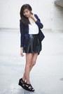 Navy-forever-21-blazer-black-forever-21-skirt
