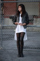 black OASAP leggings - black H&M jacket - white H&M top
