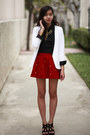 Cream-bar-coat-black-h-m-shirt-ruby-red-star-studded-oasap-skirt