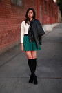 Dark-green-forever-21-skirt-black-h-m-jacket-ivory-forever-21-sweater
