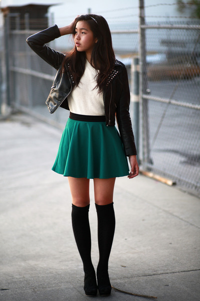 dark green Forever 21 skirt - black H&amp;M jacket - ivory Forever 21 sweater