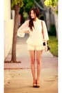 ivory Chicwish shorts - cream Forever 21 top
