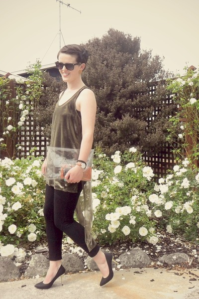 gold asos top - black Witchery leggings - orange Glassons purse