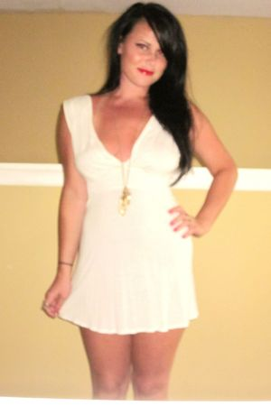white Rebecca Beeson dress - gold Forever 21 necklace