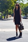 Black-chanel-boots-black-nine-west-dress