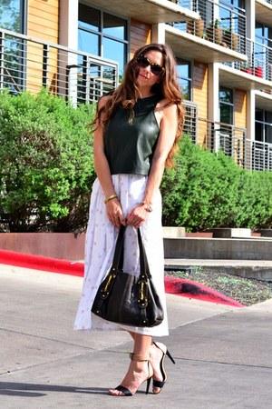 army green crop Zara top - white floral vintage skirt - black Tibi heels