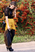 black marc by marc jacbos shirt - mustard Anthropologie dress - black Chanel bag