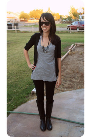 black Target cardigan - gray Forever 21 shirt - black American Apparel leggings