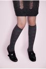 Gray-mango-dress-gray-delias-blouse-gray-saizen-socks-black-classiques-sho