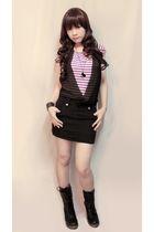 purple Sparkle Shop dress - black Sparkle Shop boots - silver Girl Shoppe access