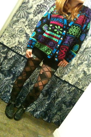 Goodwill sweater - black boots - black Urban Outfitters tights - black shorts
