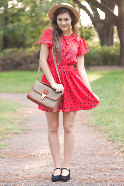 red polka dot Forever 21 dress - black thrifted vintage nine west shoes
