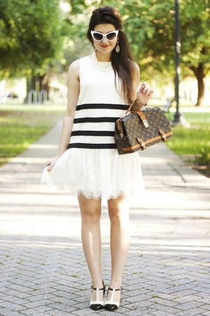 white lace Forever 21 dress - dark brown Louis Vuitton bag