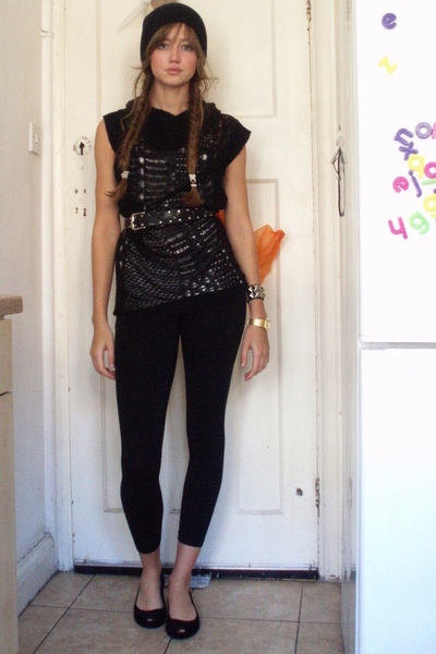 Topshop top - Topshop tights - H&amp;M hat - abercrombie and fitch vest - vivienne w