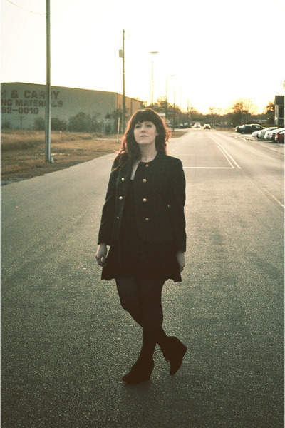 black dress - forest green wool Pendleton jacket - black tights - black wedges