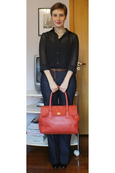 black shoestock boots - red new order bag - brown Zara belt - navy Zara pants