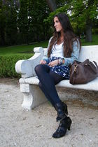 blue BLANCO shorts - brown Zara shoes - blue H&M jacket - brown DAY A DAY purse