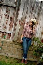 ae blouse - Jcrew jeans - my aunts hat - Nine West shoes