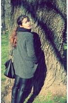 charcoal gray pull&bear coat - chartreuse c&a sweater - black Zara leggings