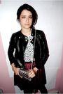 Black-forever-21-jacket-t-shirt-red-charlotte-russe-skirt-silver-purse