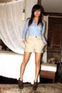Sky-blue-forever-21-blouse-camel-h-m-shorts-olive-green-charlotte-russe-boot