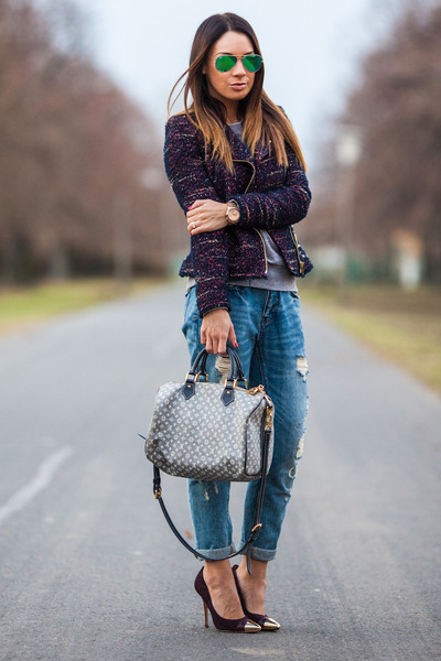 maroon tweed studded Zara jacket - blue Zara jeans