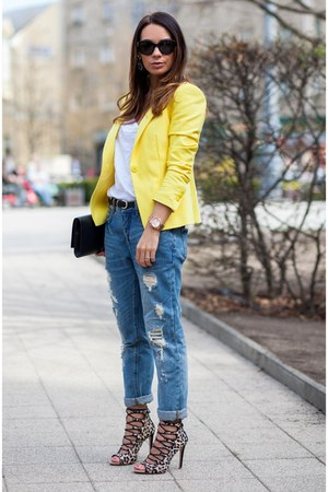 blue Zara jeans - yellow Zara blazer - black leather Saint Laurent bag