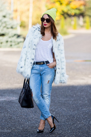 ivory asos coat - sky blue Zara jeans - chartreuse River Island hat