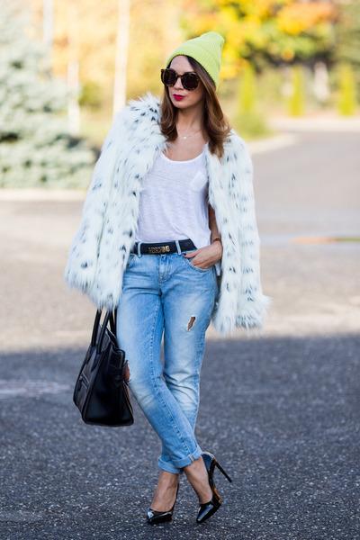 ivory asos coat - sky blue Zara jeans - chartreuse River Island hat