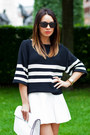 White-zara-bag-black-striped-zara-sweater-white-asos-skirt