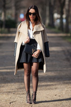 beige Zara coat - black clutch leather Saint Laurent bag - Chanel sunglasses