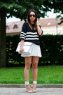 White-zara-bag-black-striped-zara-sweater-white-asos-skirt