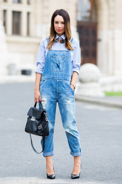 light blue mango Mango shirt - sky blue denim dungarees Zara jeans
