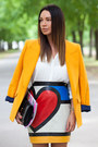 Blue-saint-laurent-bag-gold-zara-blazer-red-moschino-skirt