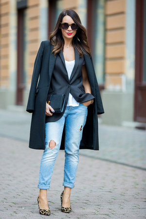 black Zara coat - sky blue Zara jeans - black Yves Saint Laurent bag