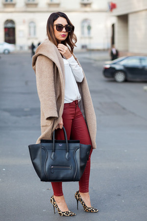 camel Zara coat - black Celine bag - ruby red Zara pants