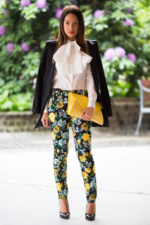 ivory asos shirt - black studio Zara blazer - yellow clutch Bershka bag