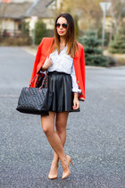 red Mango blazer - light blue denim H&M shirt - black leather Chanel bag