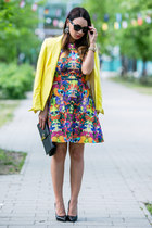black leather Saint Laurent bag - deep purple H&M dress - yellow Zara blazer