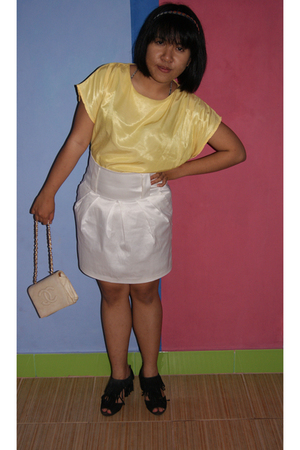 gold blouse - white skirt - black shoes