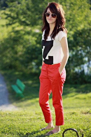 shirt - ruby red pants