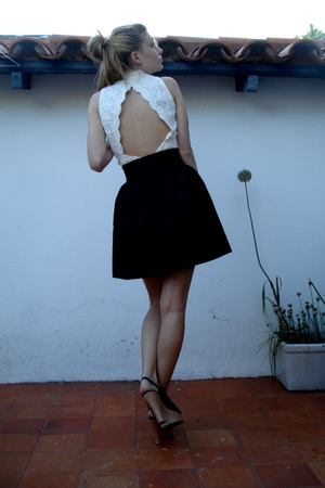 white vintage top - black vintage skirt