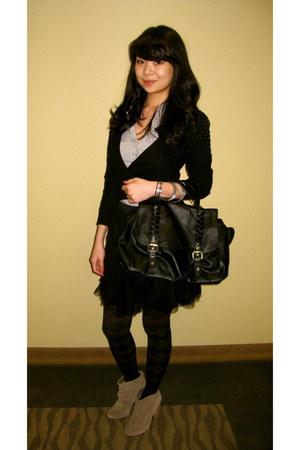 suede Steve Madden boots - leather bag H&M bag - H&M top - Lauren Conrad skirt -