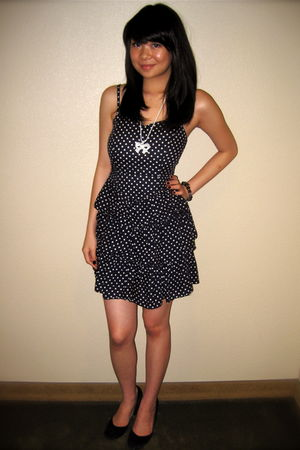 blue H&M dress - black Urban Outfitters shoes - white necklace - black bracelet