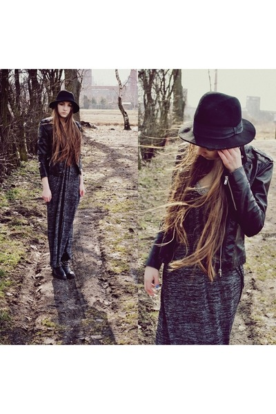 black H&M jacket - black Zara boots - dark gray second hand dress