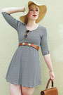 White-striped-forever21-dress-beige-straw-gap-hat-brown-bianchi-belt