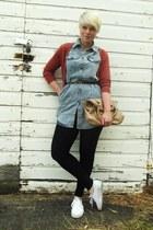heather gray denim chicnova shirt - black Zella leggings - camel Aldo purse