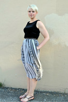 beige sheer skirt - black vintage velour dress