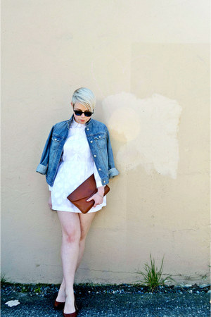 white mini OASAP dress - blue denim Gap jacket